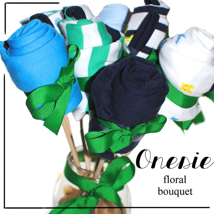 DIY: Onesie Floral Bouquet, baby shower idea, baby gifts