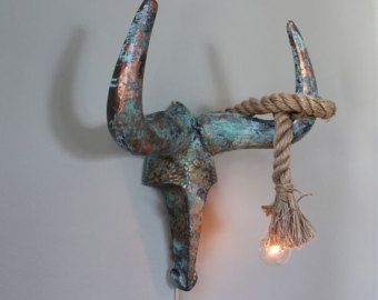 Faux Taxidermy Bull Skull Copper Patina Gold Wall Sconce Light Bare Bulb Rope Southwestern Western Rustic Boho Chic Shabby-MySecretLite