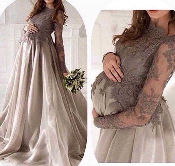 Online Shop New Fashion Arabic Long Sleeve Grey Lace Maternity Evening Dresses 2016 Organza Formal Evening Gowns Robe De Soiree | Aliexpress Mobile