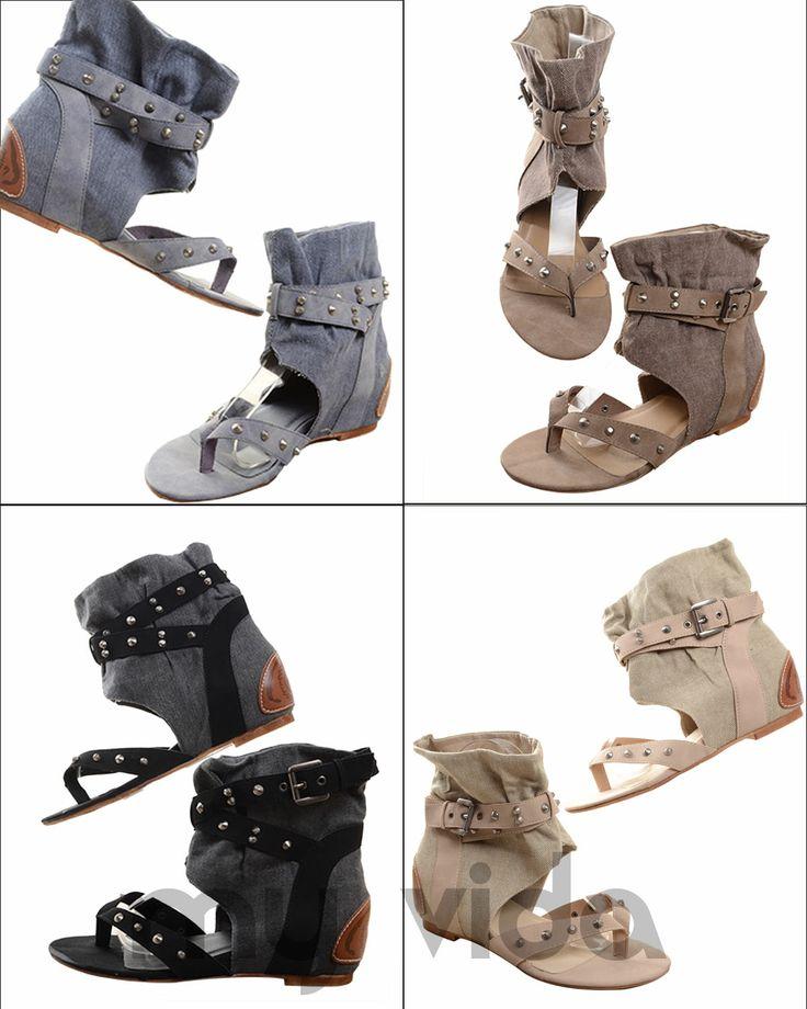 https://www.myvida.org - Sandali jeans donna con infradito. Sandalo tipo gladiatore con borchie, zeppa interna e tacco basso.