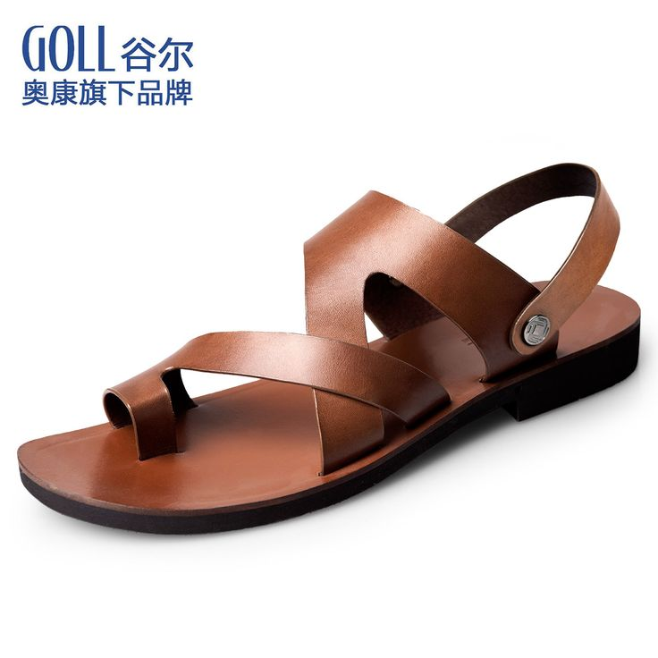 Aokang goll genuine leather the trend of male sandals casual sandals summer the first layer of dual-use leather sandals shoes $52.98