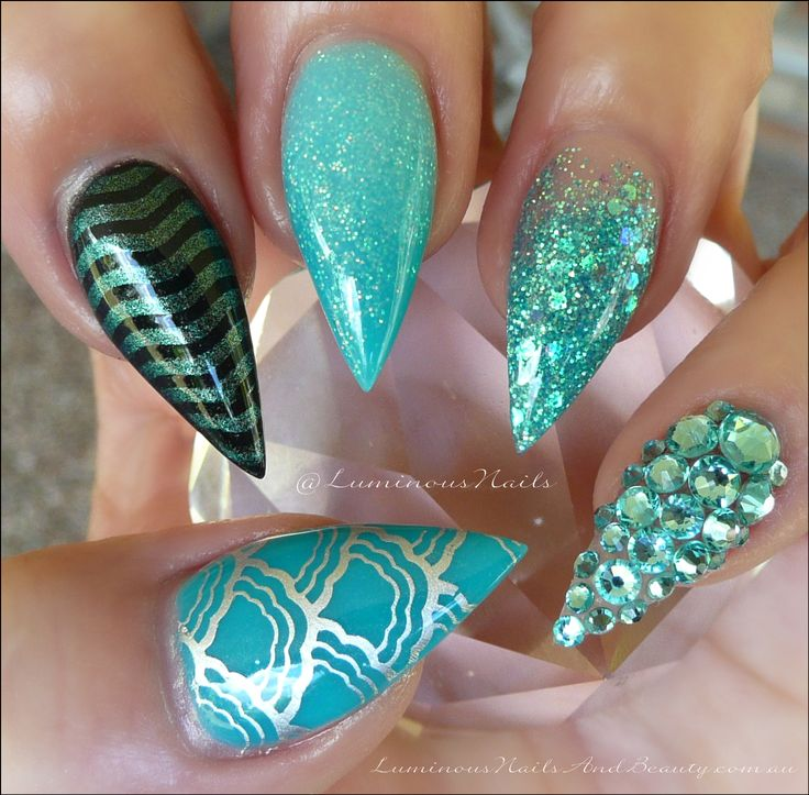 Turquoise Stiletto Nail Art: Luminous Nails: Turquoise & Teal, Inspired By The Beach