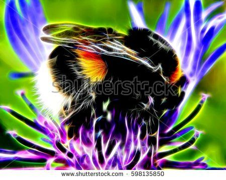 3d illustration. Picture of a bee on flowers in neon light