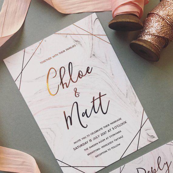 Rose Gold Marble Wedding Invitation – Blush Pink & Grey Wedding Invite – Modern Calligraphy – Foil Invitation