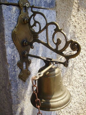 French Vintage Brass Hanging Chain Pull Door Bell
