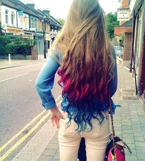 blond, red and blue rainbow hair