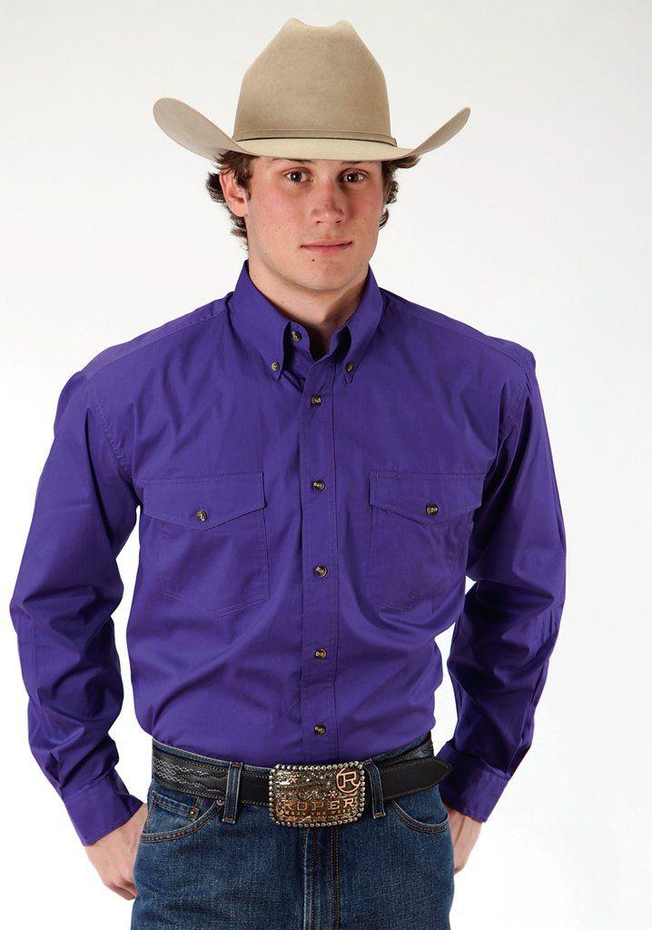 Roper Basics Mens Purple 100% Cotton Solid Poplin Btn L/S Shirt