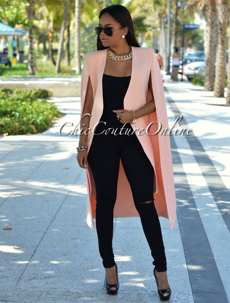 Chic Couture Online - Anahi Peach Luxe Long Cape Jacket.(http://www.chiccoutureonline.com/anahi-peach-luxe-long-cape-jacket/)