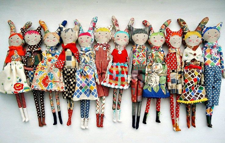dolls by modflowers, commissioned for Sarah Campbell Design and made from her own vintage Liberty fabrics
