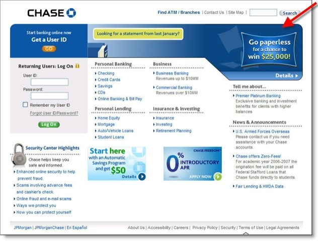 Chase Online | Chase Bank homepage with paperless statement sweepstakes CLICK TO ...