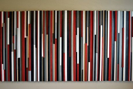Wall Art Wood Sculpture- Lines - Red, Black, Gray & White. $1,195.00, via Etsy.
