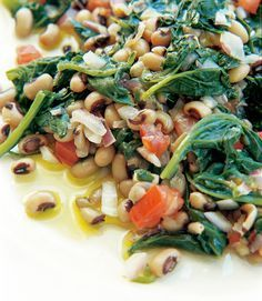Black-Eyed Peas with Spinach Recipe | Leite's Culinaria. I resolve to stock my pantry with more dried beans. Recipe by Tessa Kiros (http://www.tessakiros.com/tessa/index.html); image by Manos Chatzikonstantis (http://www.manoschatzikonstantis.net/)