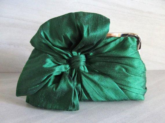 Pochette noeud en soie vert émeraude sacs et sacs à main