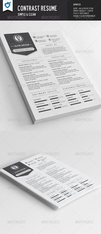 Ats Resume Template%0A Contrast Resume  graphicriver