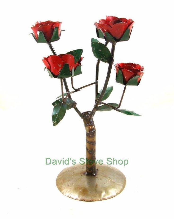 Recycled Metal Garden Yard Art Flower Red Rose Bush Sculpture MIRCBM R