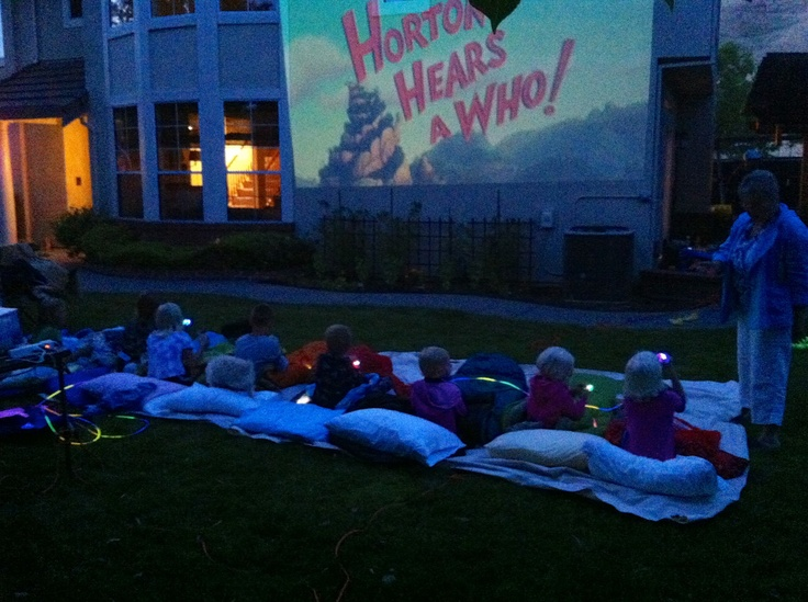 Backyard kids movie night outside ( with movie projector). I'm doing this during summer!