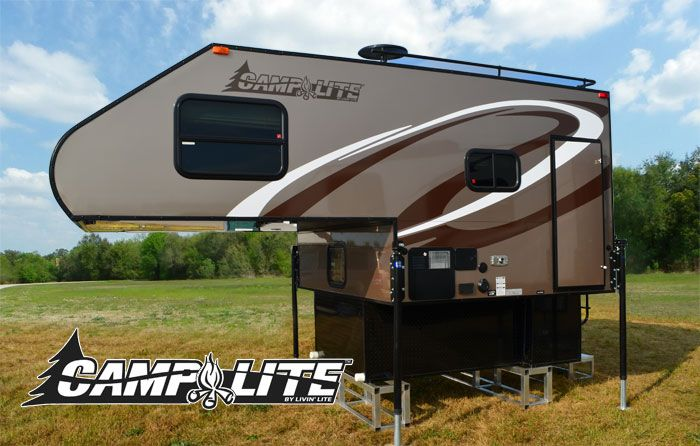 Camplite 6.8 Ultra Lightweight Aluminum Truck Camper.  Fits on a standard pickup bed with no overhang.  Says it's designed for half-ton trucks, but with a dry weight of 1700+ lbs it will exceed most payload capacities.  They have a smaller version for mid-sized trucks.