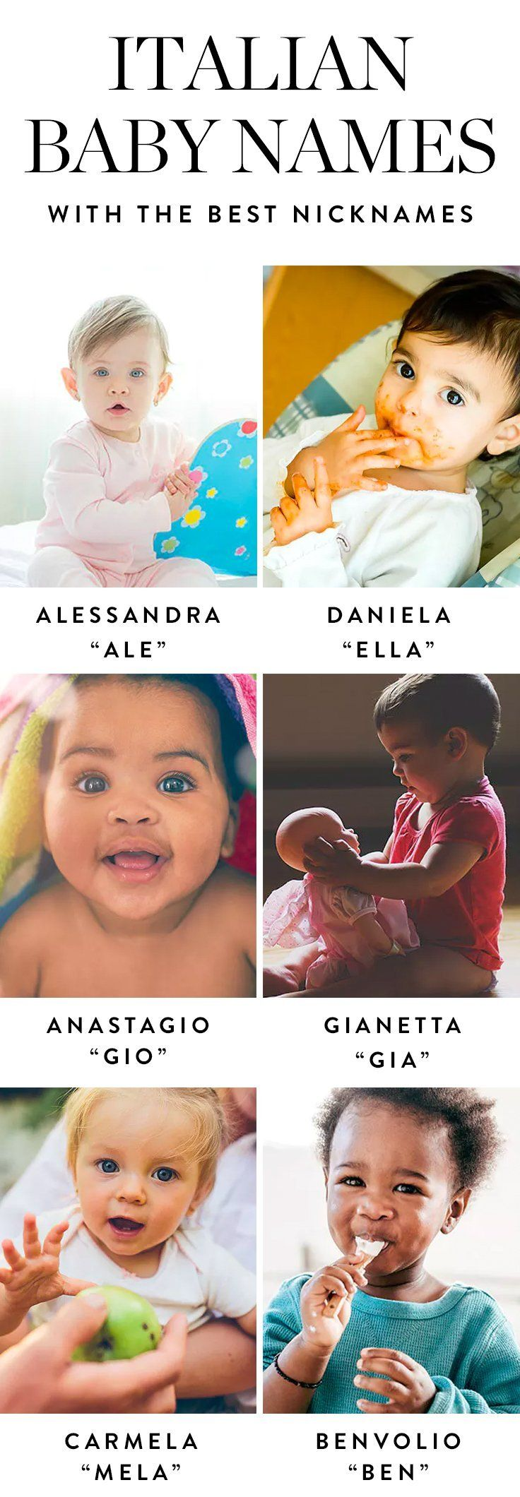 We'd seriously consider giving our future kids one of these 14 Italian baby names—especially because they have such cute nicknames.