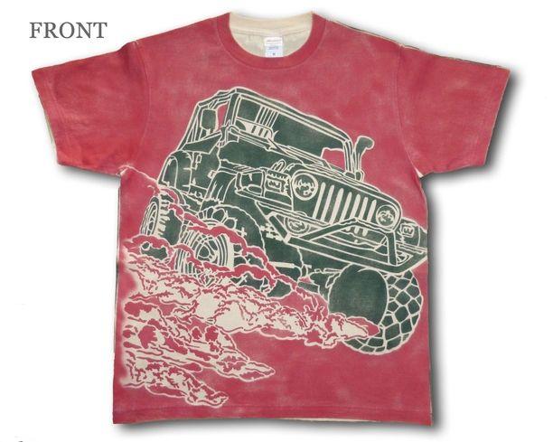 4WD エアブラシTシャツ エンジ/カーキー画像1