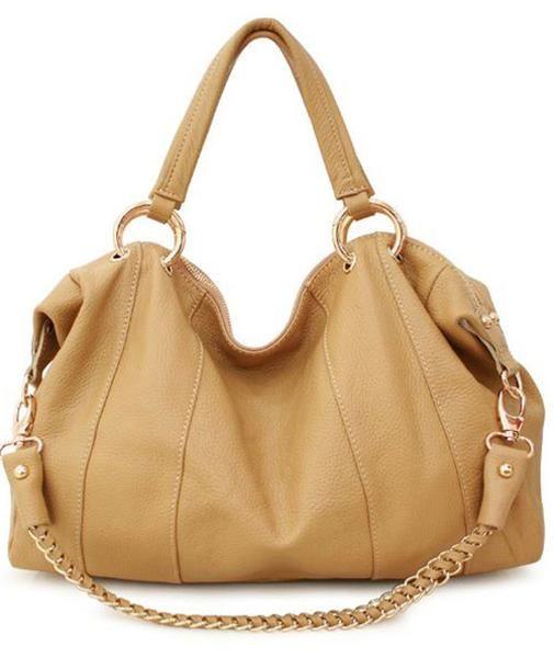 Beige Brown Leather Bag