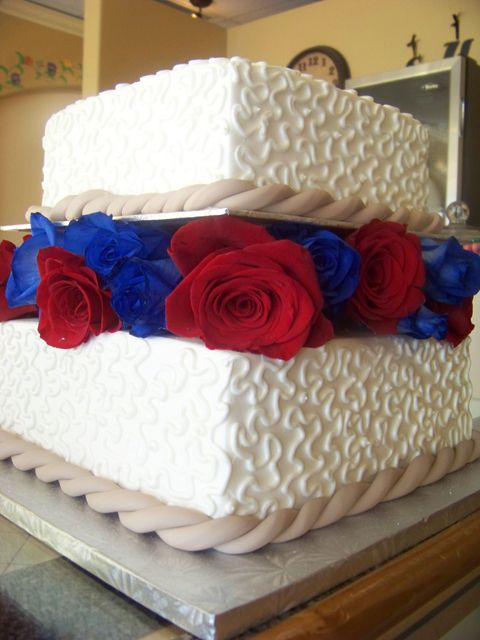 ... RED WHITE AND BLUE ! | Pinterest | Blue Wedding Cakes, Blue Cakes and