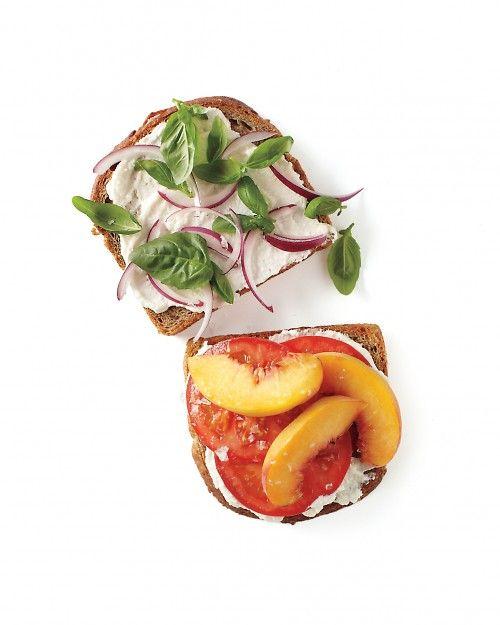 Peach, Tomato, and Ricotta Sandwich - Whole Living Eat WellEating Well, Living Eating, Peaches Tomatoes, Lunches, Whole Living, Food, Healthy, Sandwiches Recipe, Ricotta Sandwiches