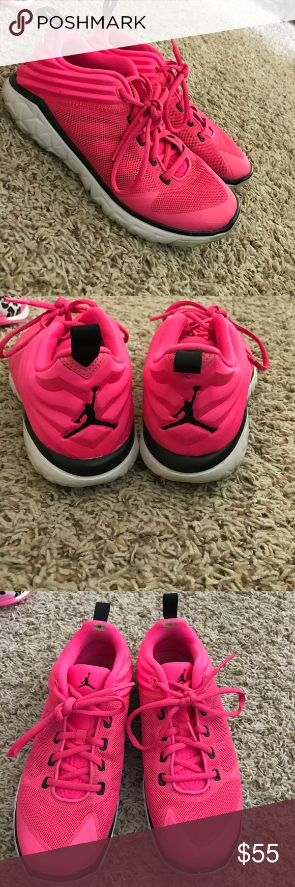 Jordan trainers size 7Y hot pink Worn about 2 or 3 times. I have a TON of gymshoes so none really get worn too much. All are in great condition.  Small breakthroughs on inside heels. Not seen when wearing Jordan Shoes Athletic Shoes