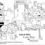 Free Printable Coloring Page: Last Day of School for Lulu & Milo, characters in the children's book, Absolute Mayhem, by Kelly Suellentrop. Learn more at KellySuellentrop.com  #kidlit #kids #art #coloringpage