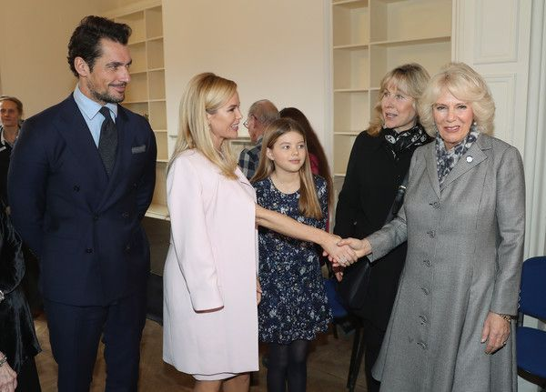 Camilla, Duchess Of Cornwall (R) with David Gandy, Amanda Holden and her daughter Alexa Hughes during her visit to Battersea Dogs and Cats Home on February 1, 2017 in Old Windsor, England.