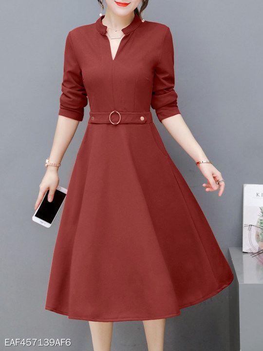 V Neck Fashion Plain Skater Dress - berrylook.com  83b4a4627