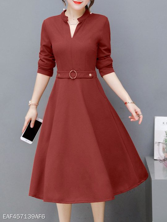 V Neck Fashion Plain Skater Dress Berrylook Com Dress Me Up In