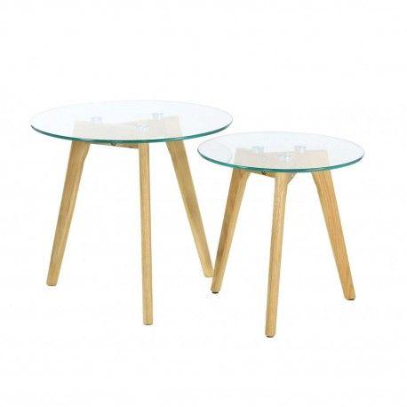 Table Gigogne Verre Trempé - Lot de 2