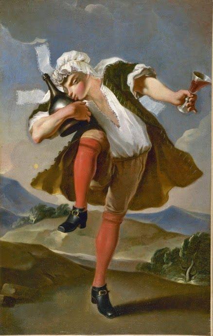 Esta sinalização é de um comerciante de vinhos parisiense, que está representado numa paisagem ao fundo.  Um bêbado dançando desalinhado com um boné de uma mulher. Ele brande um copo cheio de vinho mão esquerda e aperta em seu braço direito, uma garrafa.   Os comerciantes de vinho de varejo pagavam um imposto para a cidade a cada abertura de um barril para tirar o vinho.   fonte: Musée Carnavalet - Histoire de Paris   https://plus.google.com/114397422423346270759/posts/ZWETZPs85mR