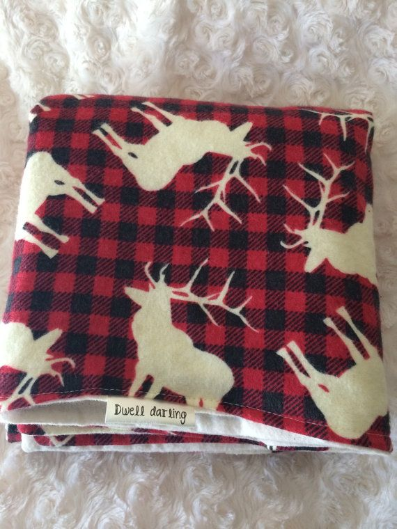 Elk baby blanket flannel plaid red rustic baby by DwellDarling