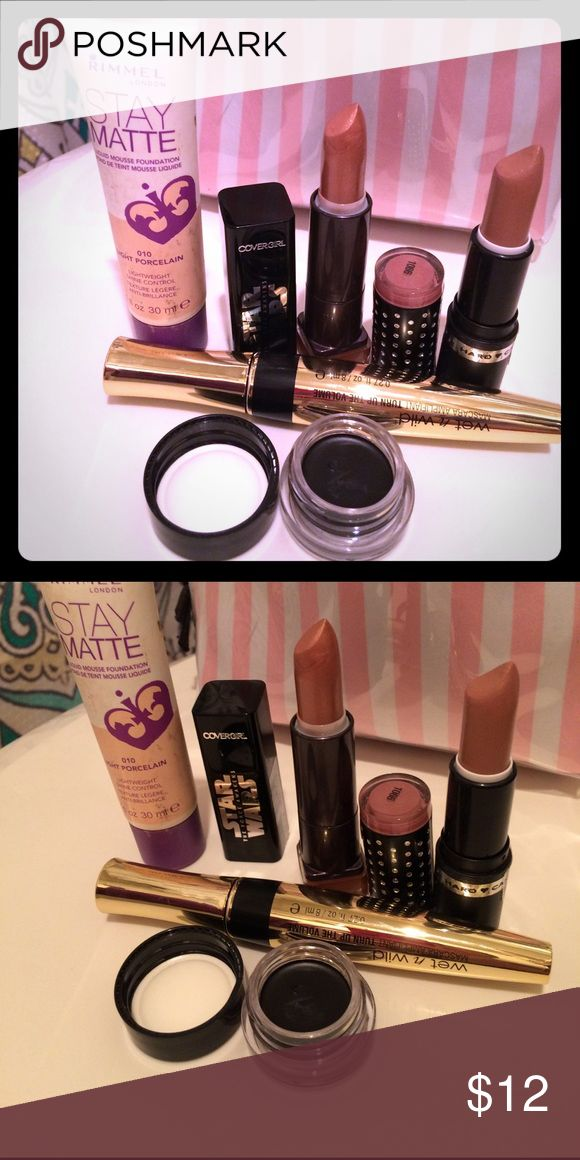 Make up bundle 💄 Wet n wild turn up the volume mascara is new, Rimmel London stay matte mousse foundation color light porcelain used twice, Star Wars cover girl lipstick brand New, hard candy lipstick color is nudist used twice, kiss gel eyeliner used once! The used items have been sanitized Hard Candy Makeup Foundation