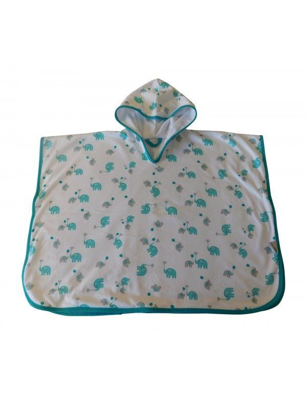Hooded Poncho Blue Elephant Size 1-3 years This cute bath poncho features an all-over blue elephant print design and is perfect for bath time, swimming lessons and covering up on the beach!   Make it personalised by adding name embroidery! #babyswimming #beachbaby #bathtime #babytowel #poncho