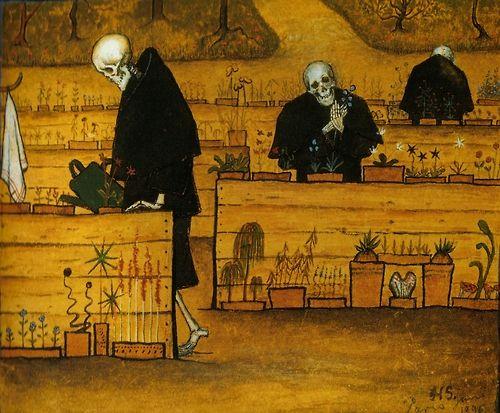 'The Garden of Death' Watercolor and gouache by Hugo Simberg, 1896. ~~ www.facebook.com/TheIrregularAnatomist ~~ www.twitter.com/Irr_Anatomist