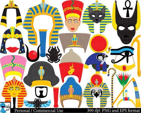 Egyptian Props  Set Clipart  Digital Clip Art  by HaHaHaArt