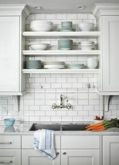 Kitchen Storage Tidy Open Storage From House Home I Love The Additional Small Ledge Serving As A Shelf Hang Some Small Metal Or Mesh Bins On It And