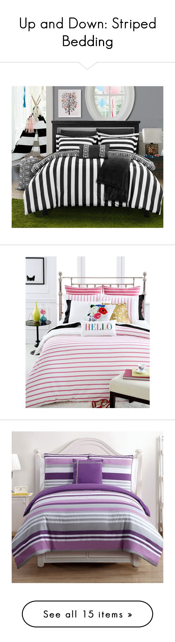 """""""Up and Down: Striped Bedding"""" by polyvore-editorial ❤ liked on Polyvore featuring stripedbedding, home, bed & bath, bedding, striped bedding sets, 10 pc bedding sets, 10 piece bedding set, stripe bedding, stripe bedding set and comforters"""