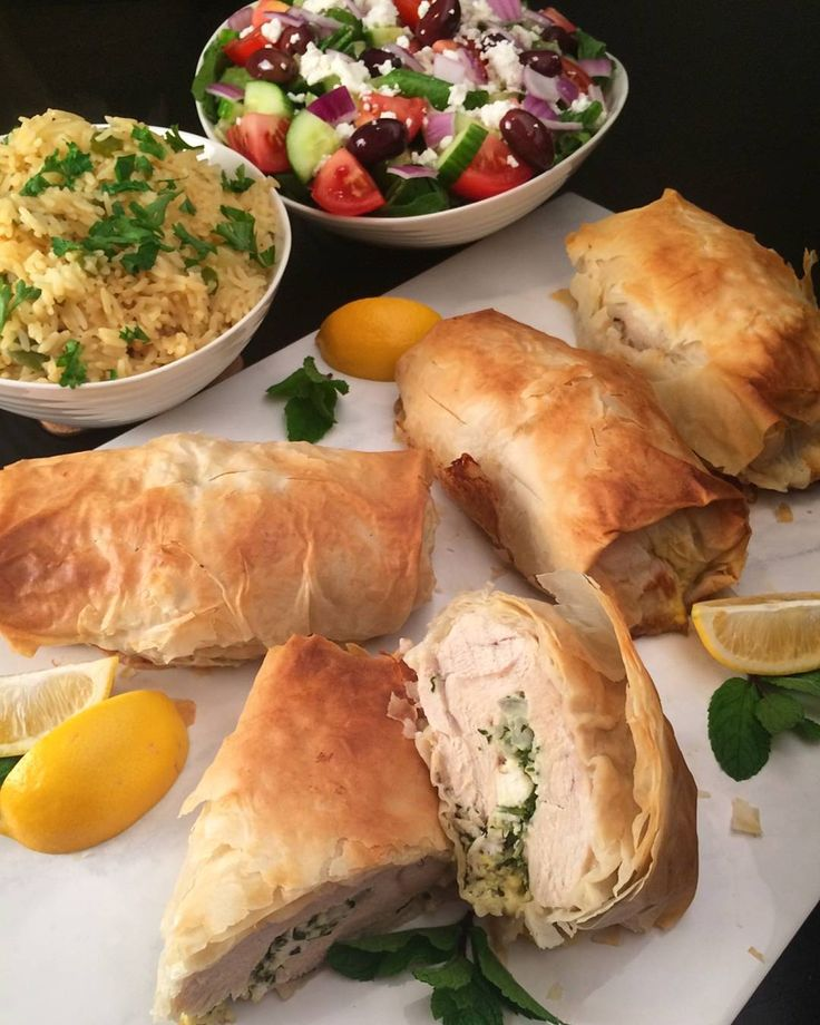 Although my preference is bone-in chicken breast, the sale on boneless was too good to pass up. Tonight we enjoyed Greek style phyllo-wrapped chicken, stuffed with herbs, feta, onions and garlic. Served with rice and a Greek salad.@zimmysnook