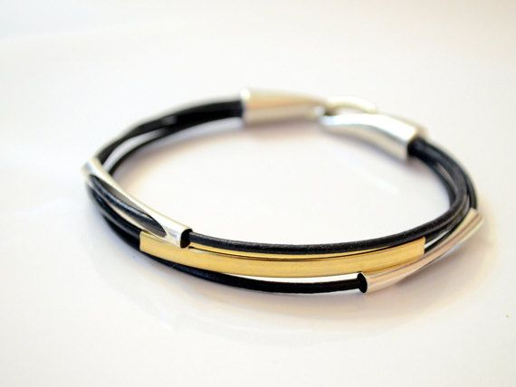 Black Leather Bracelet with Gold Plated Tube and by OxyFineCrafts