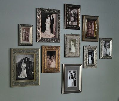 Family wedding photo gallery wall - DOING THIS with wedding pictures as well as grandparents' and great grands' 50th wedding pics.  A great way to remind us of our family heritage and how we have been blessed with a history of long marriages!