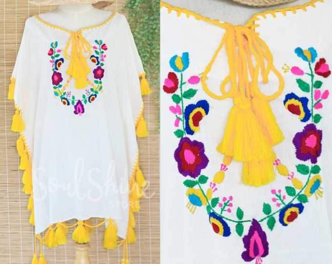 Boho Tunic Summer Dress with Hand Embroidered Floral in White, Bohemian Beach Festival Dress with Yellow Tassels