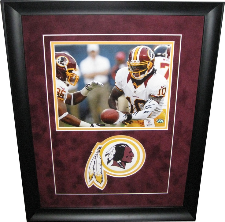 Robert Griffin III autographed 8x10 photo framed up with Washington Redskins logo