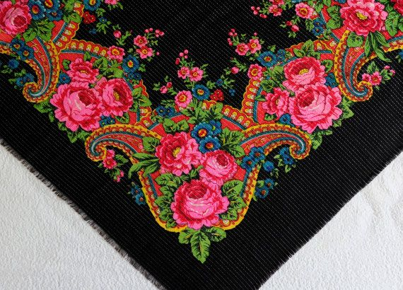 Black floral Russian woolen scarf with lurex by MadeInTheUSSR