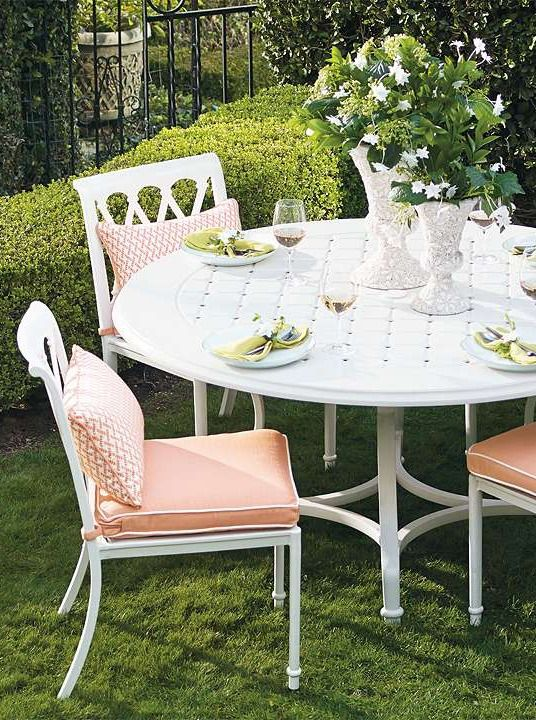 Charming and sophisticated, the Grayson Dining Collection in White Finish is the perfect place to enjoy tea time in the garden with guests.: Garden Party, Grayson Calls, Outdoor, Gardens, Patio, Dining Collection, Perfect Garden