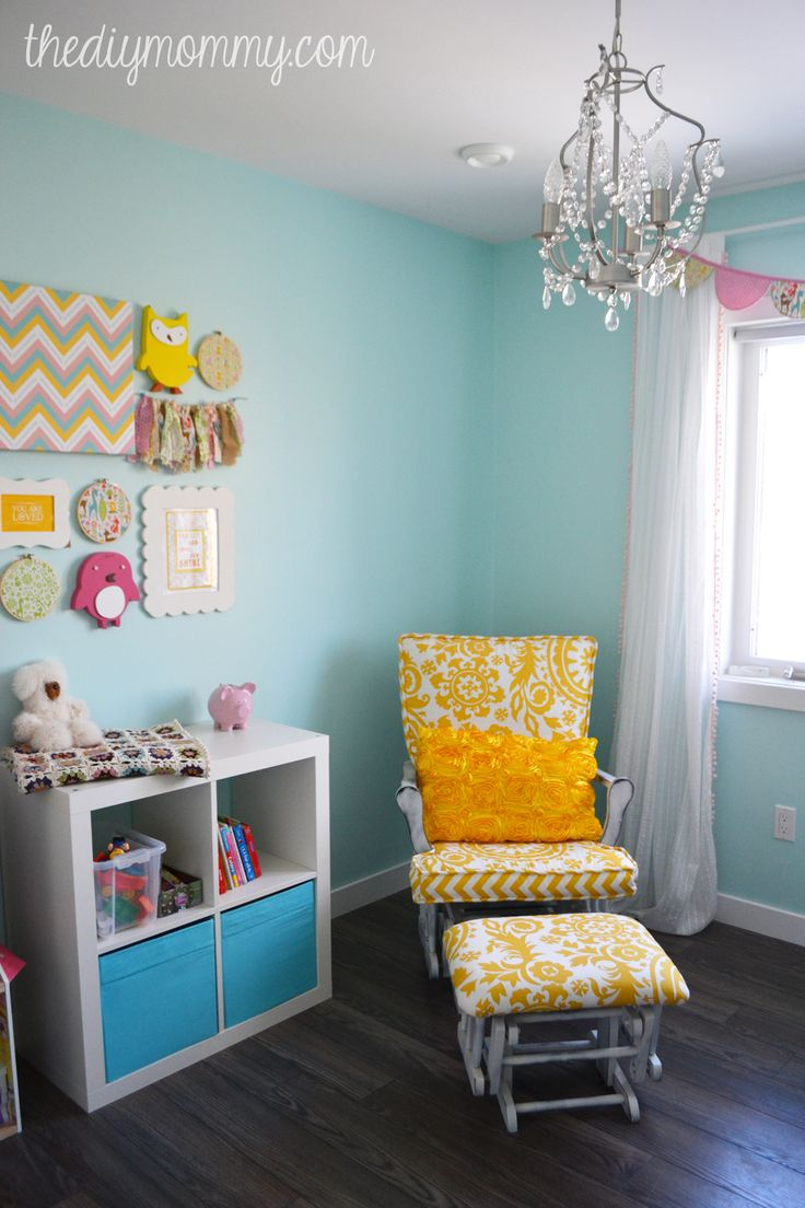 125 best girl s bedroom images on pinterest toddler rooms this sweet nursery is decorated in aqua yellow blush