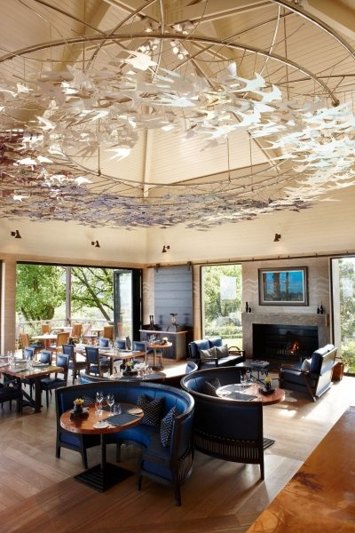 Pierre Cronje custom designed furniture and banquettes for the Indochine restaurant at Delair Graff Diamonds Estate in South Africa