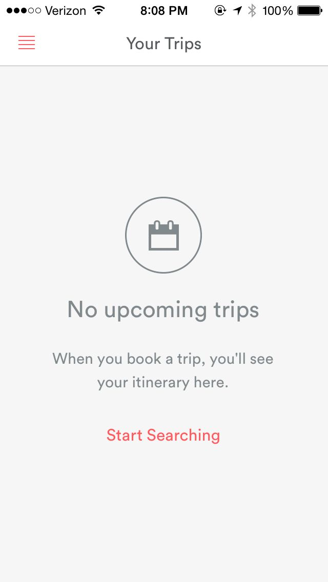 No upcoming trips in AirBNB for iPhone